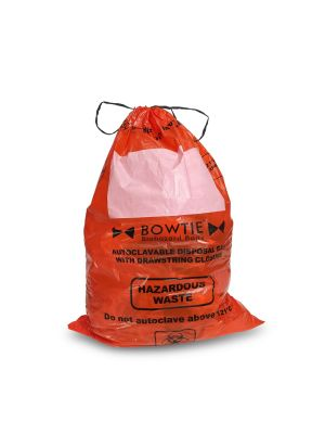 Bowtie™ Biohazard Bags, Autoclave Bag with Drawstring, PE, 25 x 35in. (64 x 89cm)