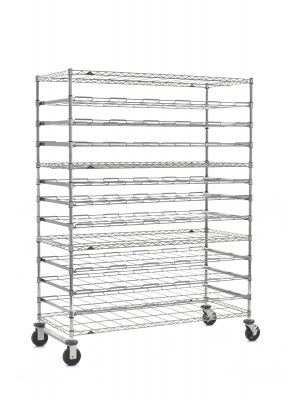 Super Erecta Mobile 13-Tier Agribusiness Drying Rack, Stainless Steel, 26