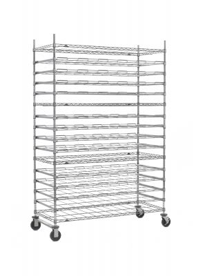 Super Erecta Mobile 16-Tier Agribusiness Drying Rack, Stainless Steel, 26