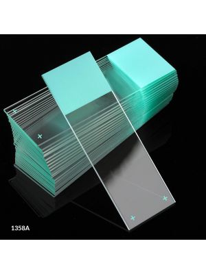Globe Scientific Diamond® White Glass Charged Microscope Slides with 90° Corners, 25 x 75mm, Aqua Frosted