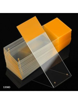 Globe Scientific Diamond® White Glass Charged Microscope Slides with 90° Corners, 25 x 75mm, Gold Frosted