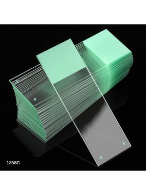 Globe Scientific Diamond® White Glass Charged Microscope Slides with 90° Corners, 25 x 75mm, Green Frosted