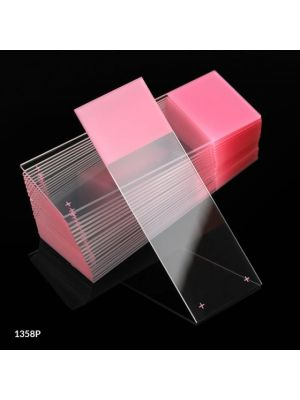 Globe Scientific Diamond® White Glass Charged Microscope Slides with 90° Corners, 25 x 75mm, Pink Frosted