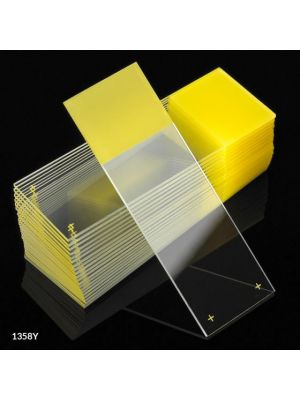 Globe Scientific Diamond® White Glass Charged Microscope Slides with 90° Corners, 25 x 75mm, Yellow Frosted