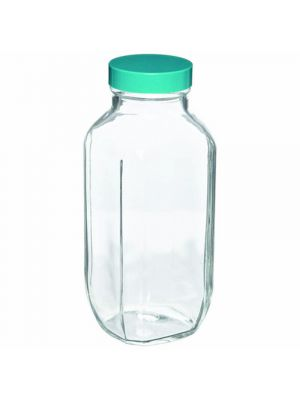Clear Glass Wide-Mouth French Square Bottles with PTFE Lined Caps