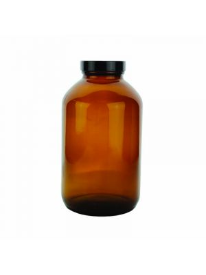Amber Glass Wide-Mouth Packer Bottles with Pulp/Vinyl Lined Caps