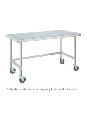 Metro HD Super Stainless Steel Mobile Worktable with Bottom 3-Sided Frame, 30