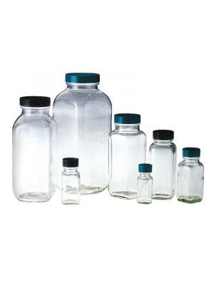 Clear Glass Wide-Mouth French Square Bottles with Pulp/Vinyl Lined Caps